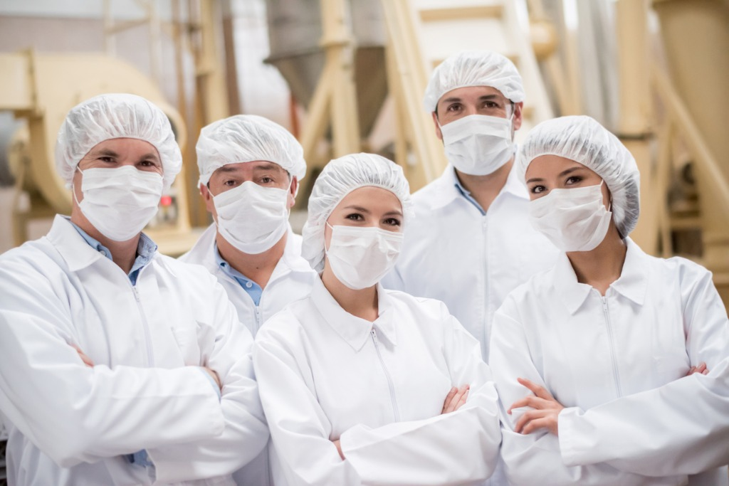 Frontline Food Workers at a processing factory