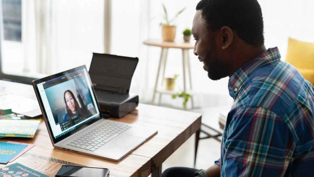 Man Attends a Virtual Job Fair